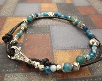 Bohemian Antiqued Silver Faceted Blue Agate Anklet 9 Inches