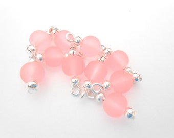 Frosted Coral/Peach Glass Dangle Beads