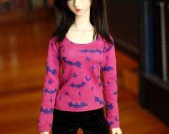Super Gem Pink and Navy Halloween Bat Top For SD BJD