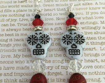 Sugar Skull Scarab Earrings Made With Czech Crystals In Red, White and Black With Sugar Skull and Scarab Beads Egyptian Day of the Dead