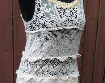 Cream Crochet & Lace Bohemian Dress - Coachella - Junk Gypsy - Altered Clothing - Size S/M