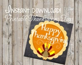 Printable Thanksgiving Turkey Tags / DIY Print-Your-Own Favor Tags, Gift Tags, Seating Cards / Turkey Day / Holiday / Thanksgiving
