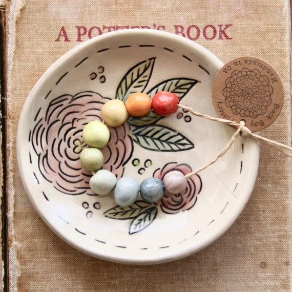 Handmade Stoneware Round Bead Set - Sampler Collection - Pastel Rainbow, Orange Coral Apple Green - READY TO SHIP