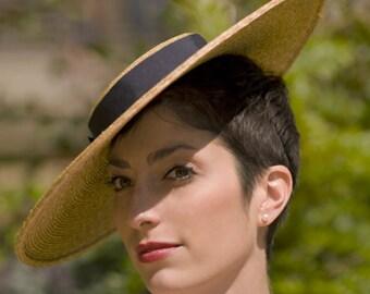 The Summer Frou Frou Wedding Hat - Straw Boater Hat w/ Dark Navy Ribbon Trim - Wide Brim Hat - Summer Wedding Hat