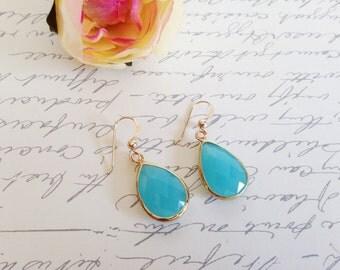 Crystal bezel gemstone earrings, Bright blue druzy earrings, boho chic, bohemian earrings, simple colorful earrings, shabby chic