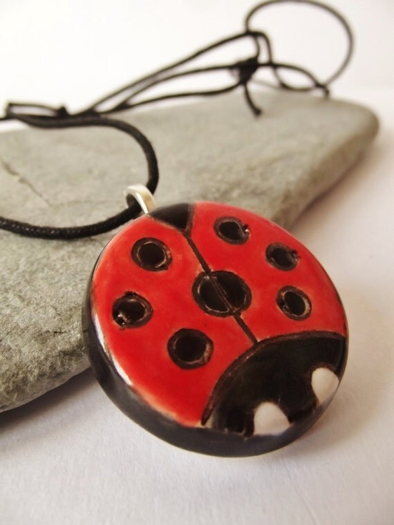 Ceramic Pottery Ladybird Pendant Necklace, Ladybug, Small Pendant, Ladybird Jewellery, Ladybug jewelry, red black white, Nature jewelry