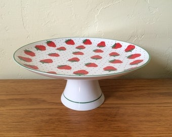 Vintage Rosenthal Netter Porcelain Strawberry Cake Plate Cake Stand Footed Cake Plate Japan