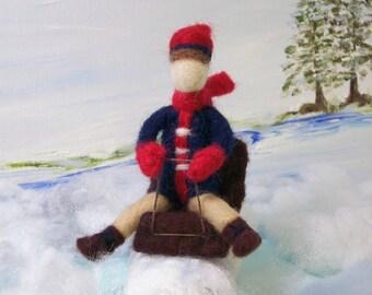Sale, Needle felted boy on sled, sledding felt boy, felted boy on sled, Winter Games,Sledding in the snow, boy in blue on sled