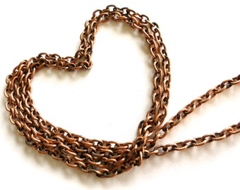Copper Necklace and Bracelet Chains-Six 29 inch Strands-5mm Links-DIY Jewelry Chains-Charm Bracelets-Chain Findings-Summer Craft Supplies