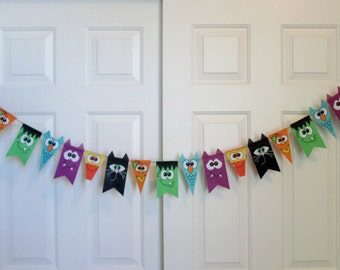 Halloween Banner Halloween Felt Banner Halloween Fabric Banner Halloween Garland Halloween Decoration Bunting Cute Monsters Halloween Favors