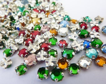 50 vintage sew on rhinestones, Ø4-5mm, colour mix, round