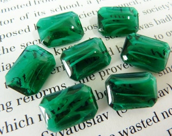 2 glass jewels, 14x10mm, green white, octagon