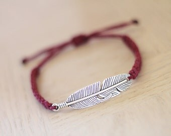 Feather Bracelet - Silver Feather Charm - Hemp Bracelet - Hemp Jewelry