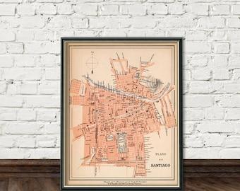 Santiago de Chile map - Fine archival print