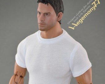 1/6th scale XXL white T-shirt for: Hot Toys TTM 20 size bigger / larger action figures and male fashion dolls