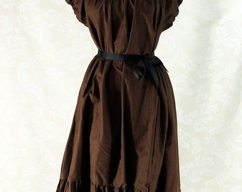 """Cap Sleeved Ragamuffin Dress in Dark Brown Cotton -- Size M, Fits Bust 36""""-40"""" -- Ready to Ship"""