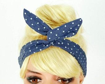 Dolly Bow Headband Blue Wire Headband Hair Accessory Flexible Pinup Headband Girl Headband Top Knot Bandana Wrap Dolly Bows Wire Head Bands