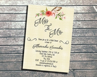 Floral Boho Bridal Shower Invitation | Printable, Simple, Florals, Boho, Feathers | Watercolor Bridal | Pink Feather