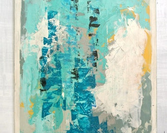 "Large Original Abstract Painting on Wood.  Titled:  ""Sea Salt"", 20 by 24"