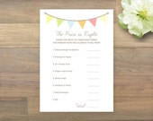 INSTANT DOWNLOAD - Baby Shower Game - The Price is Right, Gender Neutral, Bunting Baby Shower