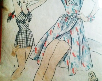Hollywood 1778 Playsuit Romper Sun Suit Bathing Suit Wrap Skirt Pattern 1940s WW2 Pinup Bombshell Rockabilly