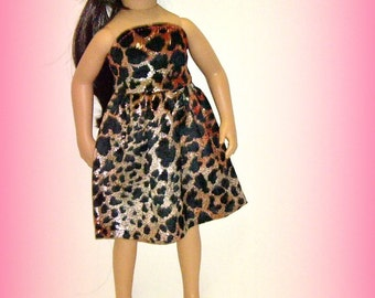 """Animal Print Velvet, Strapless Party Dress for 20"""" Maru and Friends, Dianna Effner Sculpt, Metallic, Black and Rose Color"""