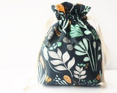 Drawstring Bag , Project Bag, Home Storage, Travel Bag, Fully Lined, Meadow