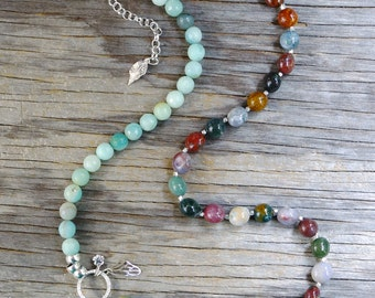 Mixed agate & amazonite necklace. Multicolored agate beaded necklace. Sterling silver long mixed gemstone necklace w/ butterfly wing, flower