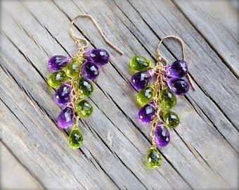 Peridot earrings. Amethyst earrings. Gold mixed gemstone purple green earrings. Green lavender briolette cluster earrings - made to order.
