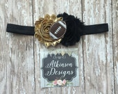 Football Headband,Gold and Black Headband, New Orleans Saints, Spirit Headband, Baby Headband