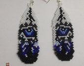 Native American Style Beaded Wolf Eye Feather Earrings Dark Blue and light Blue Southwestern  Boho Hippie Brick Stitch Ready to Ship