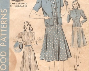 Classic Unused Vintage 1940s Hollywood 420 Front Button Shirtwaist Dress and Jacket  Sewing Pattern B34 Featuring Movie Star Elaine Shepard