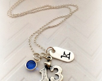 13th Birthday Girl Gift - Teen Birthstone Jewelry - Personalized Birthday Necklace - The Charmed Wife - Hand Stamped Initial Jewelry - Teen