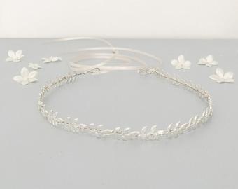 Silver leaf hair vine, Silver leaf wedding hair vine, silver leaf bridal hair vine, silver leaf wedding headband, silver leaf wedding crown