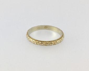 Blossom Pattern Carved Vintage 18k White Gold Wedding Band - Size 4.75