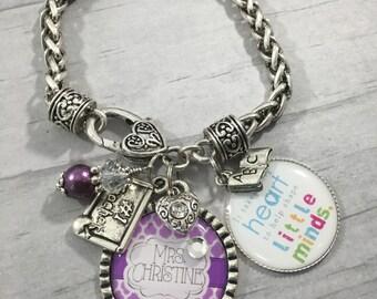 Teacher Bracelet / Teacher Jewelry / Educator Gift / Charm Bracelet / End of School Gift / DayCare Worker / Teacher Aide / Principal  / Name