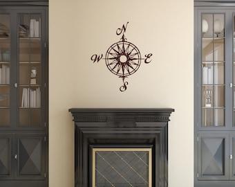 Compass Rose Nautical Vinyl Wall Decal - Nautical Decor 22165