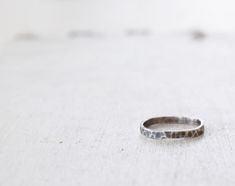 Hammered Sterling Silver Thin Band- Rustic Ring - Simple Wedding Band - Size 5 - Ready to Ship - Gift For Her - Graduation
