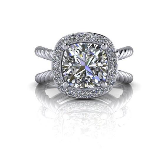 Nora Split Shank Halo Engagement Ring Russian Brilliant