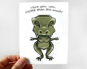 Funny T-Rex Card, I Love You This Much, Dinosaur Card, Anniversary Card, Valentines Day, Blank Card, Personalized Name, Custom Message