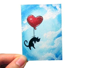 Black Cat Original ACEO Art, Red Balloon, Animal Painting, Heart Balloon, I Love You, Miniature Painting, Death of Pet Memorial, Blue Sky
