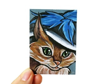 ACEO Original Art Card, Cat Portrait, Small Acrylic Painting, Merry Widow Hat, Chinese Mountain Cat, Pet Owner Gift, Orange and Blue