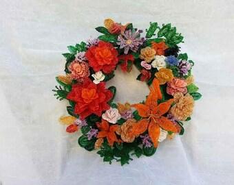 Bead Flower Autumn Wreath