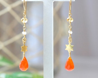 Carnelian earrings, Orange stone Earrings, Gold star charm earrings, Citrine Earrings, November Birthstone earrings, Yellow stone earrings
