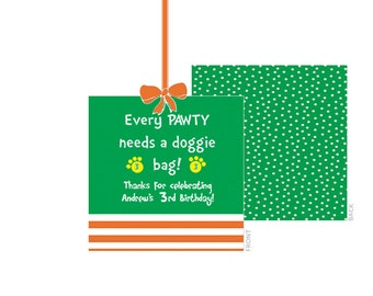 Go Dog Go Favor Tag, Professionally Printed (Personalized Party Tag)