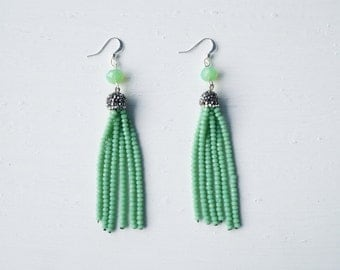 Mint Beaded Tassel Earrings