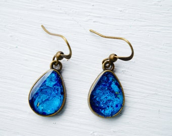 Blue Painted Teardrop Earrings