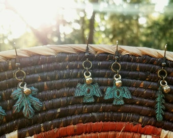 Mediterranean Verdigris Patina Earrings//Handmade//Bohemian Jewelry