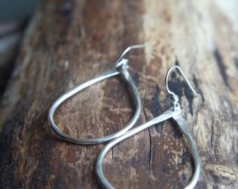 Large Silver teardrop hoops - Hand forged .999 fine Silver dangles - Oregon Raindrops - Minimalist hoop earrings - Simple teardrop earrings