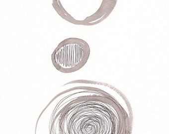 Abstract circles painting. Small format modern art. Black and white. Vertical.